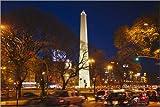 POSTERLOUNGE Póster 60 x 40 cm: Night view of Obelisk of Buenos Aires and Avenida 9 de Julio de Keren Su/Danita Delimont - impresión artística de alta calidad, nuevo póster artístico