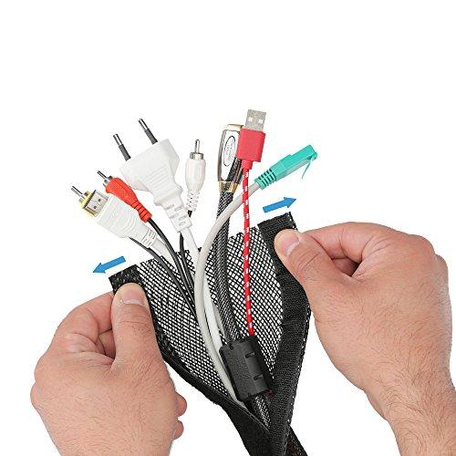 Hicab Kabelschlauch flexibel 2m, schwarz: der dehnbare Kabelschlauch (max. 32mm Durchmesser), der sich der Dicke Ihrer Kabelbündel anpasst! Mit Klettverschluss zu schließen.