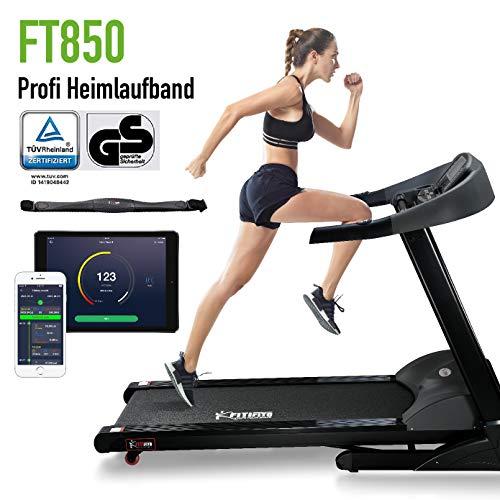 Fitifito ES8500X Profi Laufband 7PS 22km/h mit LCD Bildschirm - Klappbar, Schwarz