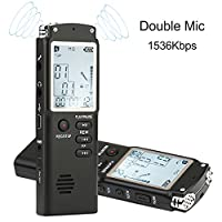 Digital Voice Recorder, HccToo Dictaphone 8GB 1536Kbps Multifunctional HD Stereo Recording Double Microphone/Noise Cancelling/Voice Activated with MP3 Player Function Perfect for Recording Interviews, Class, Lectures, Conferences, Conversation and Meeting