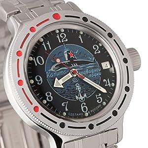 Vostok Amphibian 420831Ruso Militar reloj 2416b 200m auto azul marino Submarino de Vostok Amphibian