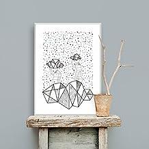 Lámina poster decorativo Tree Houses 50x70. Edición limitada. Cuadro diseño exclusivo, de autor. Estilo nórdico contemporáneo.