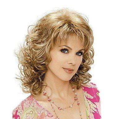 Oofay jf ® moda bionda brown colore misto di media lunghezza parrucche ricce delle donne con botto lato , brown with blonde