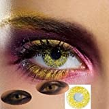 82041 Paar Kontaktlinsen linsen farbig gelb GOLD schimmer halloween kostüme neu