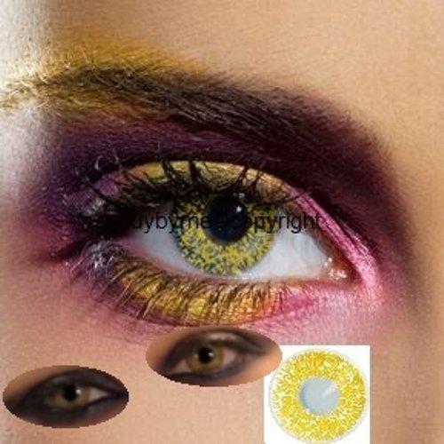 82041 Paar Kontaktlinsen linsen farbig gelb GOLD schimmer halloween kostüme neu (Schimmer Halloween)