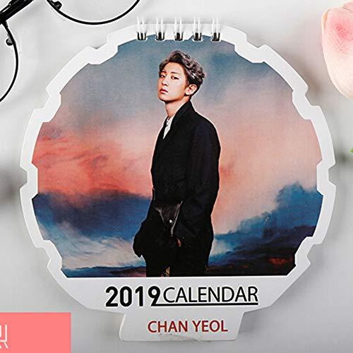 Saicowordist KPOP EXO Offizieller gleich stil Kalender 2019 Desktop Kleinkalenderalbum Gleicher Absatz Foto Hot Gift Card Heißes Geschenk(CHANYEOL) -
