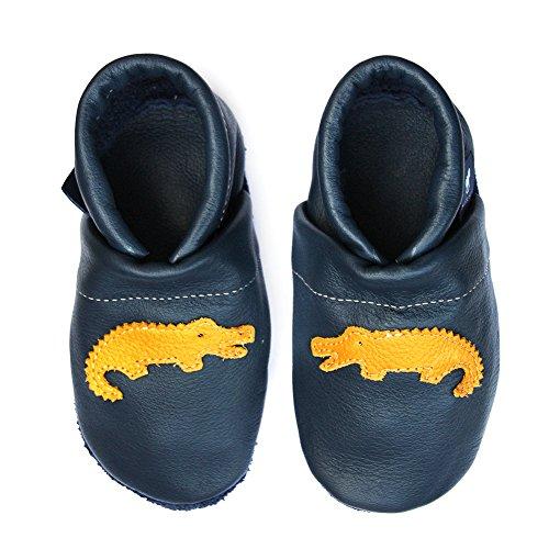 pantau.eu Kinder Lederpuschen Krabbelschuhe Babyschuhe Lauflernschuhe mit Krokodil BLAU_GELB