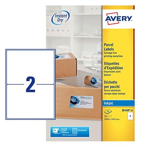 AVERY Zweckform schnelltrocknende Adressetiketten für Tintenstrahldrucker 2 pro Blatt 199,6 x 143,5 mm 50 Etiketten weiß