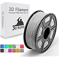PLA Argento riempito di metallo filamento stampante 3D,Filamenti per stampanti 3D,1.75 mm,precisione dimensionale +/- 0,02 mm (Argento)