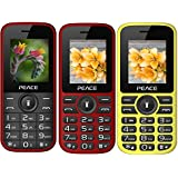Peace P3 Combo Of 3 Mobiles (Red Black+P4 Red Black+Yellow Black)