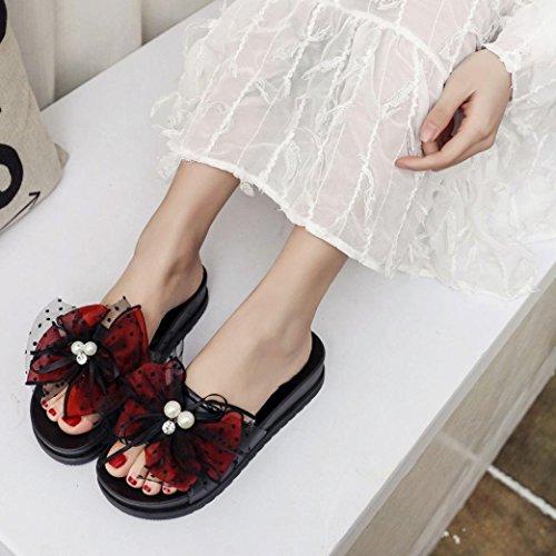 Somesun Femmes Pantoufles Sandales Dentelle Femmes Pantoufles D'été Wedge Plage Avec Décontracté Wedges Sandales Compensées Chaussures Femmes Rouge