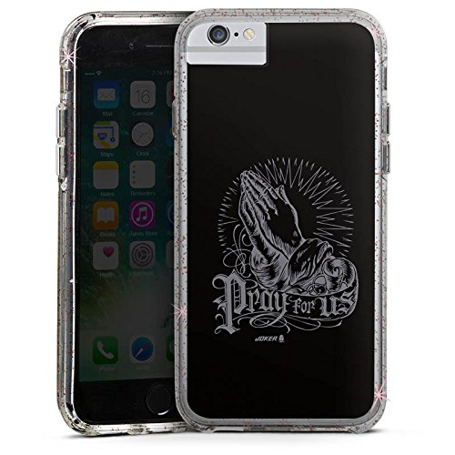 Apple iPhone 6 Bumper Hülle Bumper Case Glitzer Hülle Beten Joker - Pray For Us Haende Bumper Case Glitzer rose gold