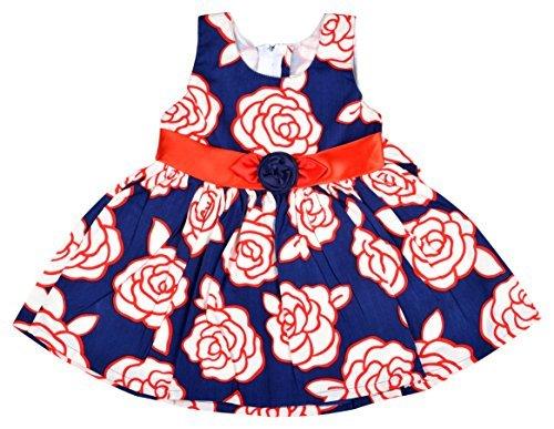 Kuchipoo Baby Girl Dress Cotton Frock , Red & Blue, 6-18 Months)