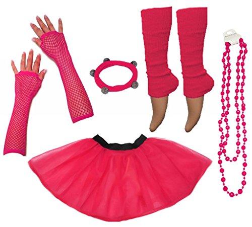A-Express Frauen kostüm 80er Jahre Neon Tutu Beinstulpen Fischnetz Handschuhe Tüllrock Karneval Tüll Damen Fluo Ballett Verkleidung Party Tutu Rock Kostüm Set (36-44, Rosa )