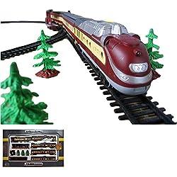 Tren eléctrico con efectos de luz y sonido, incluye vagones, larga vía y múltiples accesorios.