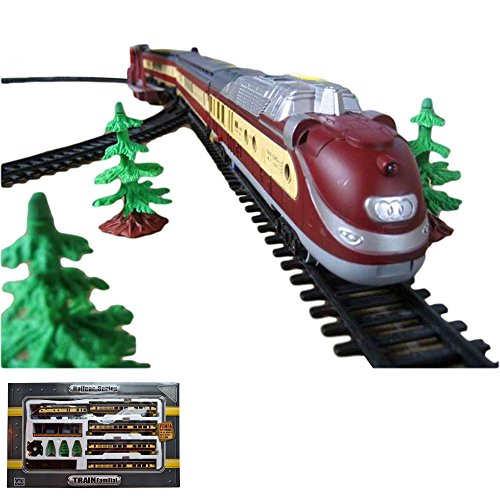 Kit de démarrage chemin de fer électrique avec effets son et lumière, locomotive avec wagon, long chemin de fer et de nombreux accessoires, kit complet