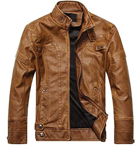 Lannister giacca da uomo giacca abbigliamento da giacca da transizione festivo motociclista in pelle giacca da moto in ecopelle geteppt slim fit modern leisure nero giallo marrone