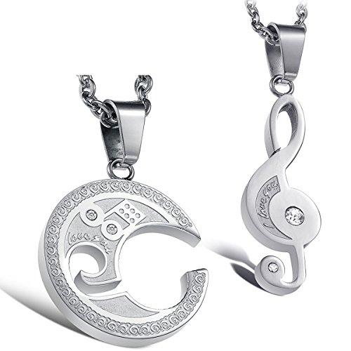 Flongo 2pcs collane amante regalo per coppia pendente musica simbolo giunturato forma argento in acciaio