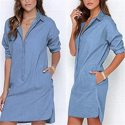 Vale® vaqueros elegantes casuales de vestir las mujeres Jean mangas largas vestido azul más el tamaño de la hembra ocasional