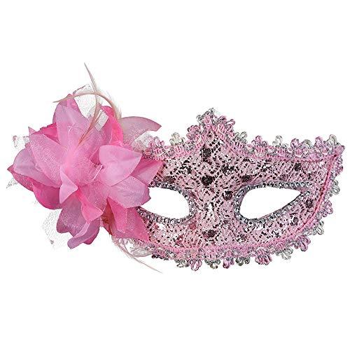 JingHeYongKeJi Frauen-Reizvolles Venedig Lace Mask Luxuxrhinestone Kostüm Maskerade Für Partei-Versammlung Kostüm Parteien Rosa