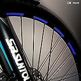 Motoking Fahrrad-Reflektorenaufkleber - Dunkelblau - 26 Aufkleber im Set - Breite: 7 mm - reflektierende Felgenaufkleber für Trekkingbike-, Fahrradfelgen & mehr