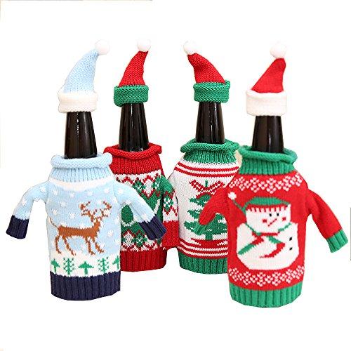 4Stk Weinbekleidung Weihnachts weinflaschen deko Flaschenüberzug mit Münze 11*16cm für Weihnachten, Party, Neues Jahr, Fest, Familie, Restaurant