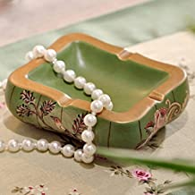 XOYOYO European Retro Painted Pottery Crafts Ceramic Ashtray Crack Decoration Home Daily Gift For Men