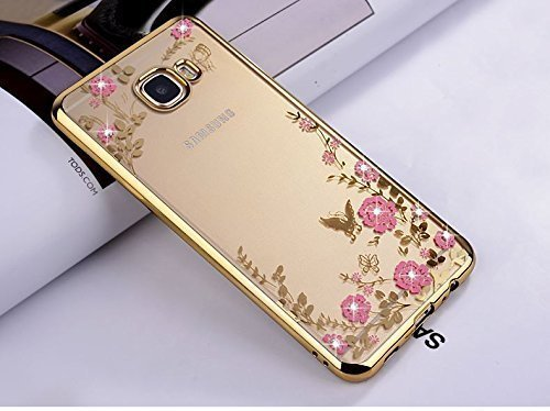 LOXXO Shockproof Silicone Soft TPU Transparent Auora Flower Case with Sparkle for Samsung J7 Prime Back Cover Gold