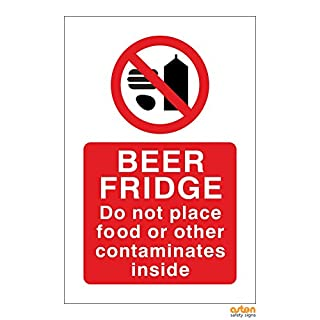Funny Beer Fridge sign, do not place food or other contaminates inside. 100x150mm Self adhesive Sticker. Easy to peel and apply (100x150mm)