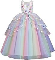 FYMNSI Kinder Mädchen Einhorn Kostüm Kleid Prinzessin Langes Abendkleid Maxikleid Blumenmädchen Hochzeit Brautjungfer Prinzes