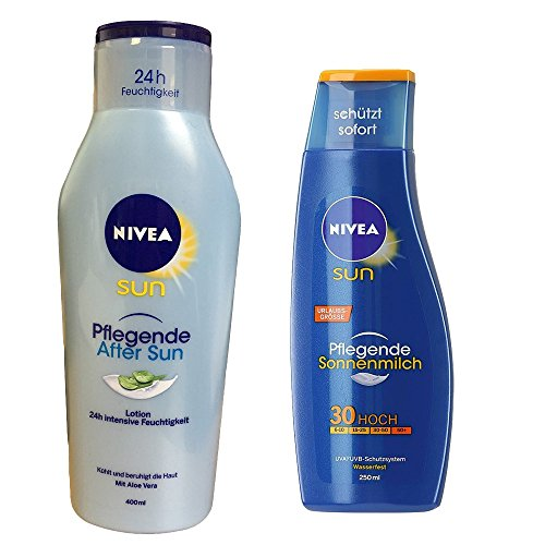 Nivea Sun Urlaubsset, Pflegende After Sun Lotion 400 ml & Sonnenmilch LSF30, 250 ml