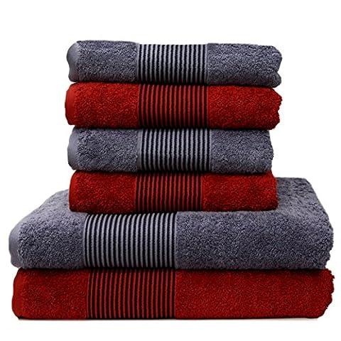 Liness-Stripes 6 tlg Frottier Handtuch-Set 4 Handtücher 50x100 cm 2 Duschtücher Badetücher 70x140 cm rot grau-anthrazit Handtuch Badetuch-Duschtuch 100%