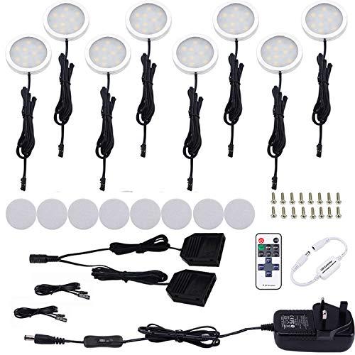 Küchen-Unterbauleuchten von Aiboo, LED, 12 V, 8 Stück, schwarzes Kabel, Aluminium, rund, dimmbar, mit Funk-Fernbedienung, für Küchenschränke, Kleiderschrank, Regal, Möbel Modern Tageslicht  Weiß -