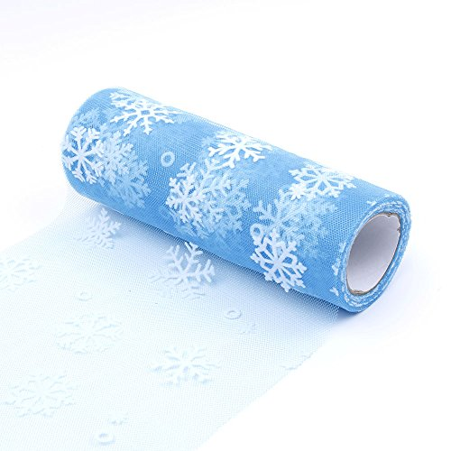 s Schneeflocke Tüllrolle Hochzeit Thema Party Weihnachten Home Decor Heimwerken Handwerk Nähen Materialien(See Blau) ()