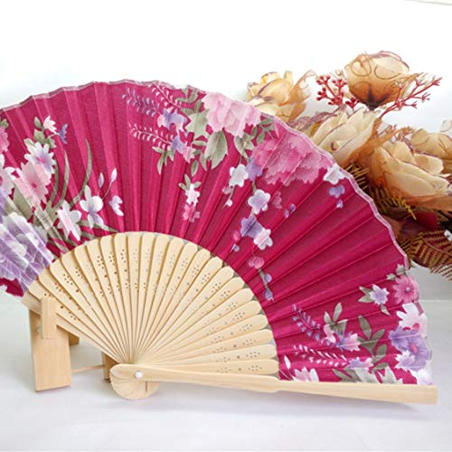 VIGE Portable Fan Japanese Frauen Hand Faltfächer Nr. 8 Schöne Kirsche Farbe Satin Fan mit Bambus Rahmen - Weinrot - Fan Japanese Folding - Red