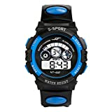 Uhr Herren Uhren Herrenuhr Sportuhr armbanduhr herren DAY.LIN Wasserdicht Herren Jungen Digital LED Quarz Alarm Datum Sport-Armbanduhr (Blau)