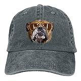 Osmykqe Bulldog with Sunglasses Denim Hat Adjustable Womens Mini Baseball Caps Y020025