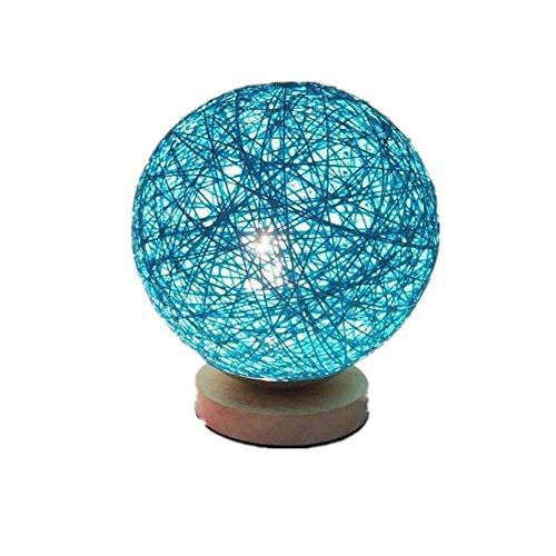 REDOI Créative Veilleuse Lampe de Table Chevet Chambre Personnalité Romantique Ronde Mariage Pastorale Lumière Bois Massif Mode (Bleu, Violet, Blanc) , Blue