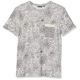 Antony Morato Herren T-Shirt Girocollo Stampa Foglie Con Taschino Riga E Tape Pullunder, Grau (Fango 2064), Large
