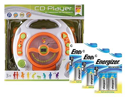 Idena 10123818 - CD und MP3-Player, mit zwei Mikrofonen zum Mitsingen und USB Anschluß, inklusive 6x Premium Alkaline Baby C / LR14 Advanced Batterien der Marke Energizer, weiß