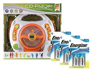 Idena 10111143b-Reproductor de CD y MP3con Dos micrófonos para Cantar, USB Conector Incluye Energizer Advanced Pilas, Color Blanco