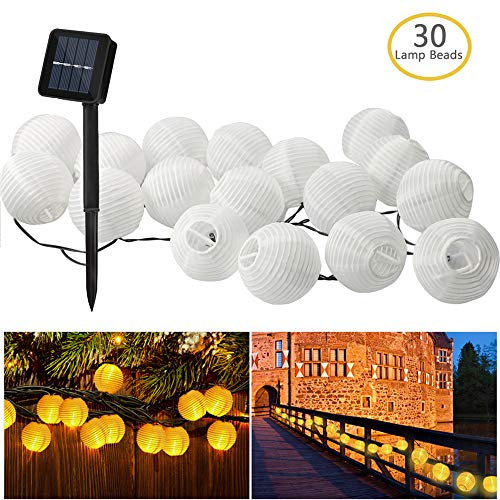Gafild Solar Lichterkette Lampions 30 LED Laterne Warmweiß Lichterkette, Solarbetrieben Lichterkette 6m Wasserfest Außenbeleuchtung Lampions Laternen Dekoration für Party, Garten, Terrasse und Hof -