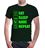 buXsbaum T-Shirt Eat Sleep Rave Repeat-XL-Bottlegreen-Neongreen