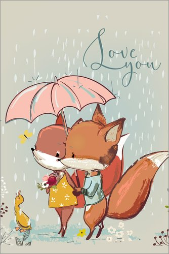 Posterlounge Holzbild 20 x 30 cm: Fuchs Liebe von Kidz Collection/Editors Choice