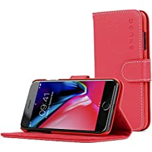 iPhone 7 and 8 Case, Snugg Apple iPhone 7 and 8 Flip Case [Card Slots] Leather Wallet Cover Executive Design [Lifetime Guarantee] – Red, Legacy Series