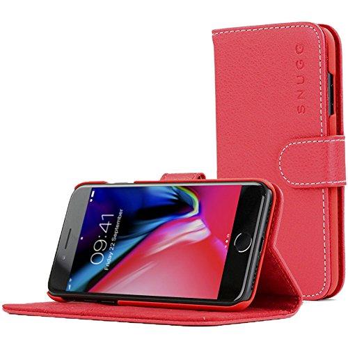 iPhone 7 Plus and 8 Plus Hülle, Snugg Apple iPhone 7 Plus and 8 Plus Klappetui Flip Cover Tasche Leder [Kartenfächer] Schutzhülle Lederbrieftasche Executive Design – Rot, Legacy Range (Vuitton Rot Leder Louis)