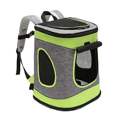 ABISTAB Hundebox faltbar Transportbox Hunde und Katze Transporttasche für Auto- und Flugreisen geeignet Tragetasche Rucksack Spazi mit Komfort und Sicherheit robuster: Grau-Technogrün