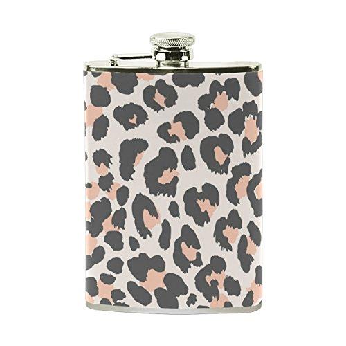 Petaca personalizada Jeansame de acero inoxidable con diseño de leopardo a rayas y lunares