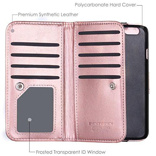 iPhone 6S Plus Leder Hülle Handytasche, iPhone 6 Plus Lederhülle Ledertasche Case Hülle Geldbörse mit Kartenfach abnehmbar Magnet Handy Schutzhülle für iphone 6 Plus 6s Plus Rosé Gold M542-Rosé Gold