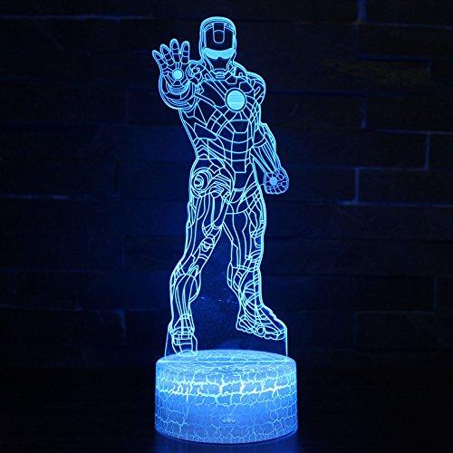 (LED Superhero 3D optische Illusion Smart 7Farben Nachtlicht Tischlampe mit USB-Power-Kabel Iron Man)